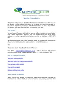 Network Telecom Website Privacy Policy